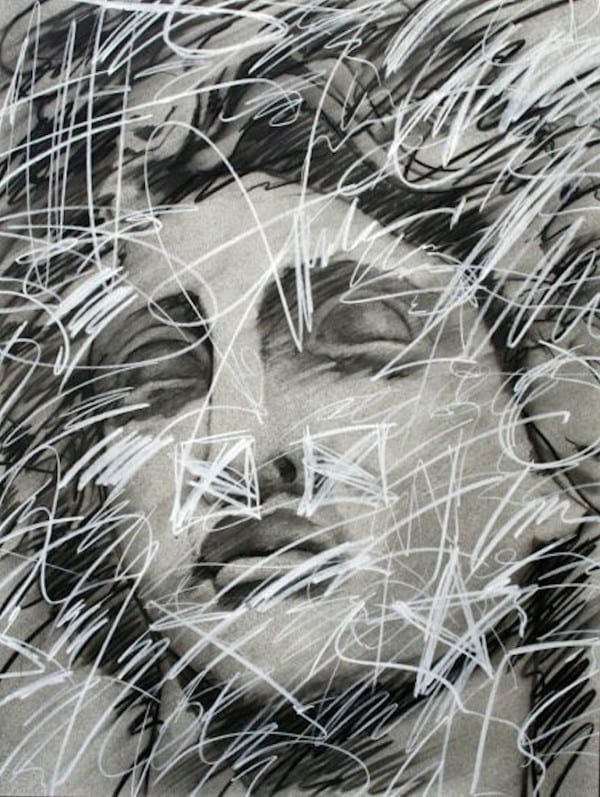 Face with Graffiti | Drawing by Tom Potocki Fine Arts | Charleston, SC