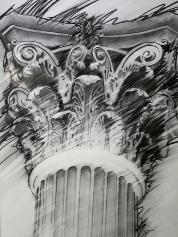 Law Column | Drawing by Tom Potocki Fine Arts | Charleston, SC