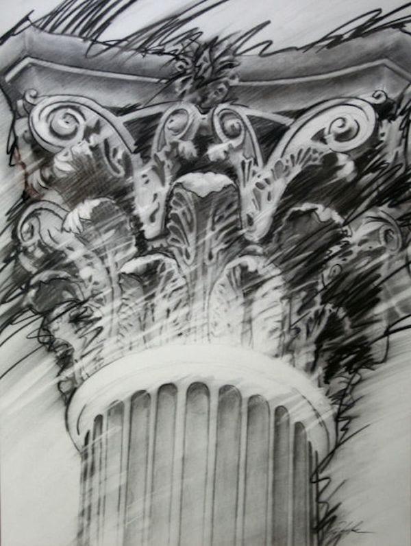 dramatic black and white pillar