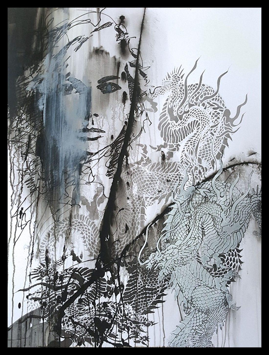 Figure with Dragon Tattoo II 30 x 40